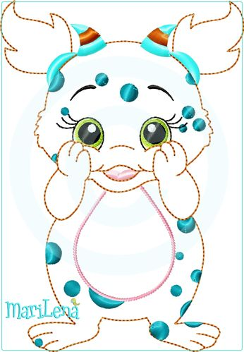 Stickdatei BabyMonsterGirl Appli 13x18