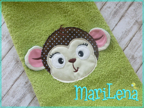 Monkey Head 3D-Appliqué 4x4""