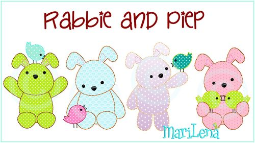 Rabbie and Piep Applis Set 10x10