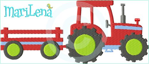 ♥ Tractor ♥ Filled 5x7""