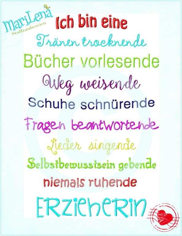 Spruch Erzieherin 18x30 Marilena Stoffzaubereien
