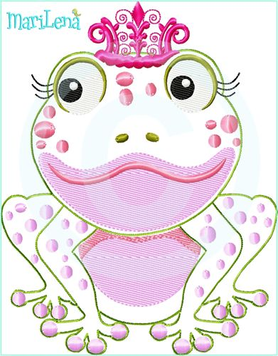 Frog Princess Appliqué 5x7""