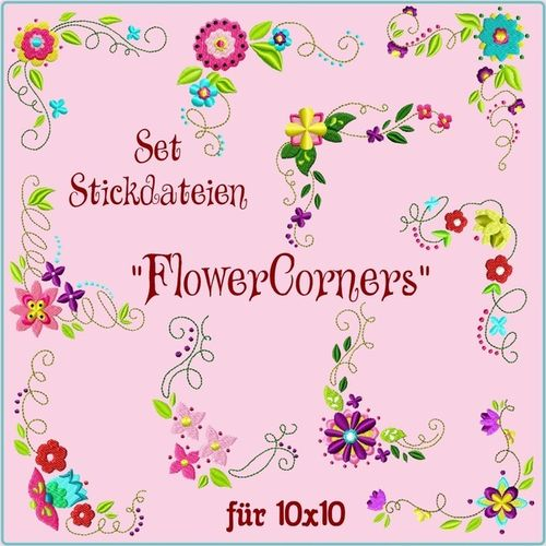Set Flower Corners 10x10