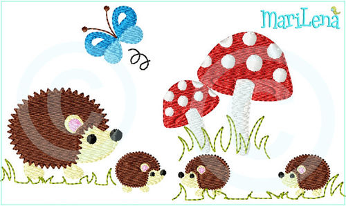 ♥ Family Hedgehog ♥ Filled 5x7""