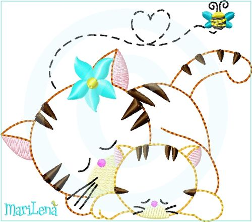 ♥ Mom&Me Cats ♥ Appliqué 4x4""