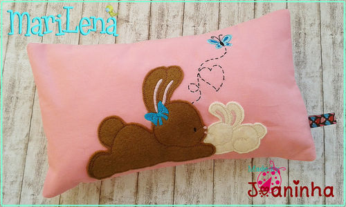 Mom&Me Rabbits cushion / pillow 7x12""