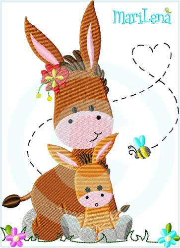 ♥ Mom&Me Donkeys ♥ Filled 5x7""