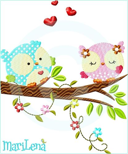 ♥ Owls in love  ♥ Filled 5x7""
