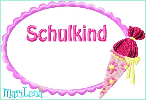 ♥ School Button Frame Schultuete  2  ♥ Appliqué 5x7""