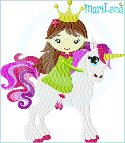 ♥ Princess with Unicorn ♥ Filled 5x7""
