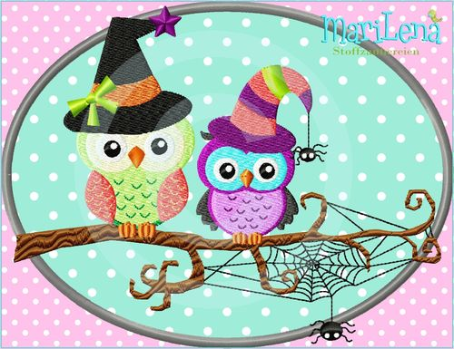 ♥ Halloweenowls Button ♥ Appli 13x18