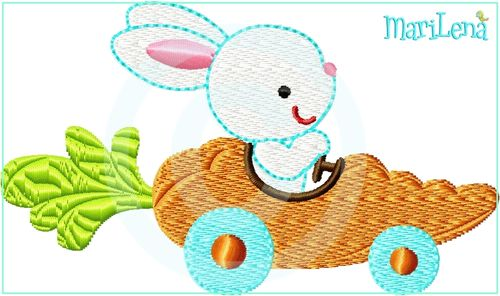 ♥ CarrotCarBunny ♥ Filled 4x4""
