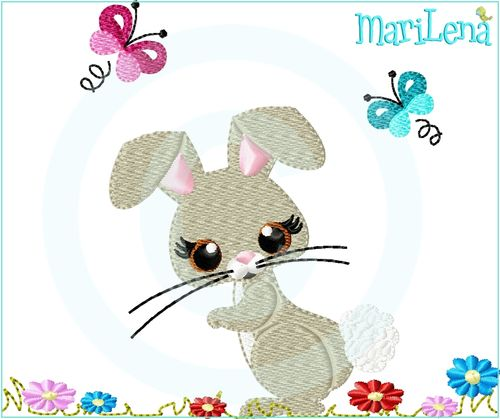 ♥ Bunny on meadow ♥ Filled 5x7""