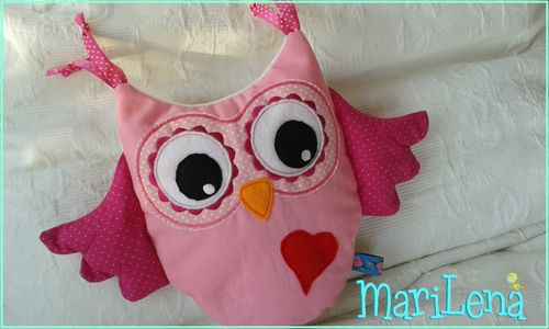 Owl Pillow Cushion ITH Applique 10x12""
