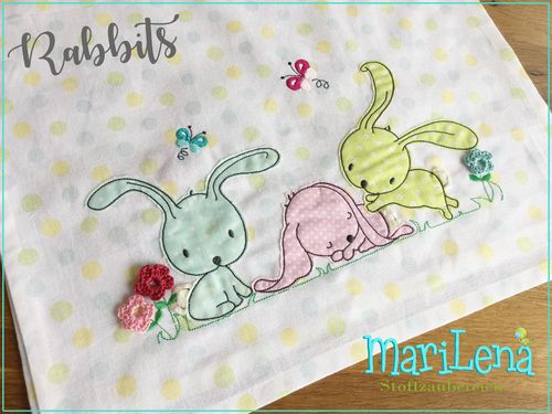 Rabbits Applique 7x12""