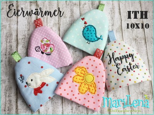 Egg Cosy Set 3 ITH Applique 4x4""