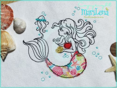 ♥ Mermaid ♥ RedworkAppliqué 5x7""