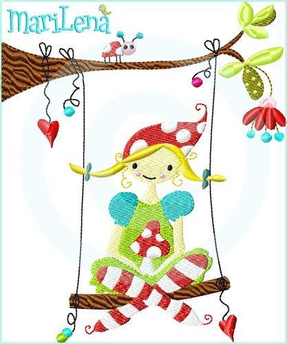 ♥ Myra on a swing  ♥ Filled 5x7""