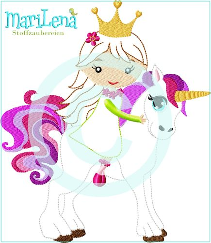 Princess Unicorn Applique 7x12""