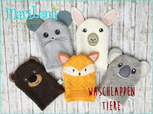 WashclothSet animals 5 ITH