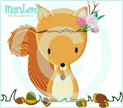 ♥ Squirrel on medow ♥ Filled 4x4""