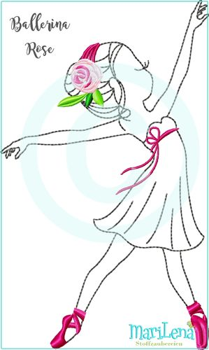 Ballerina Rose Redwork Applikation