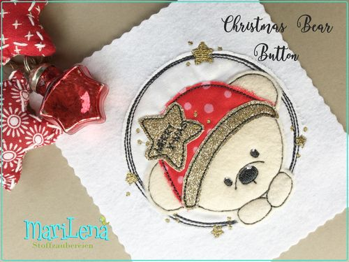Christmas Bear 2 Button Doodle Applikation